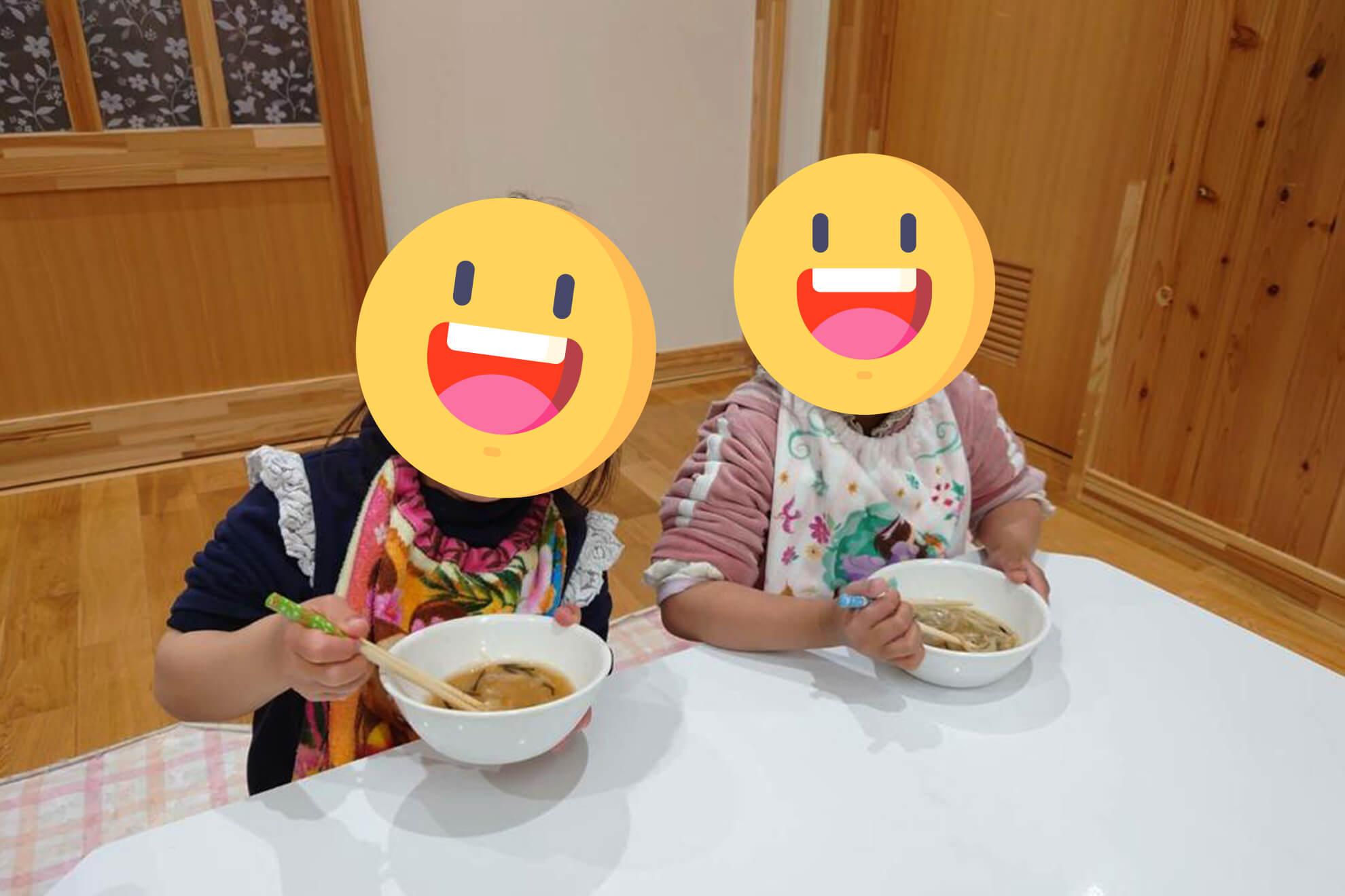子供たちとお蕎麦